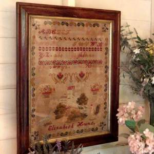 Victorian 19th Century Large Sampler Good 1871 Framed Embroidery