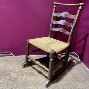 Late Georgian Ash Macclesfield Childs Rocking Chair
