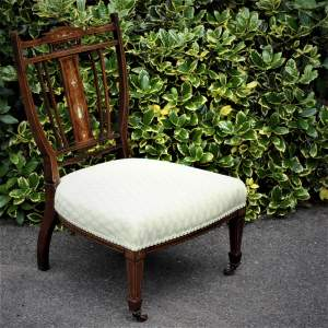 Antique Edwardian Inlaid Rosewood Nursing Chair