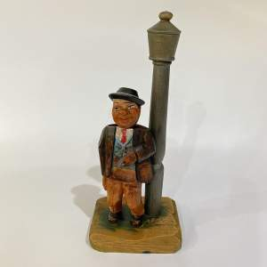 Anri Bar Set, Smoking Gent at Lampost - Carved Wooden Figurine