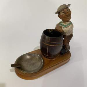 Anri Smokers Compendium - Carved Wooden Figurine Italian Folk Art