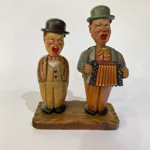 Anri Bar Set, The Happy Singing Duo - Carved Wooden Figurine