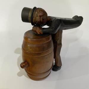 Anri Tipsy Gent on Barrel, Cigarette Holder - Carved Wooden Decor