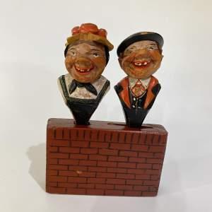 Anri The Merry Couple Bar Set - Carved Wooden Figurine - Folk Art