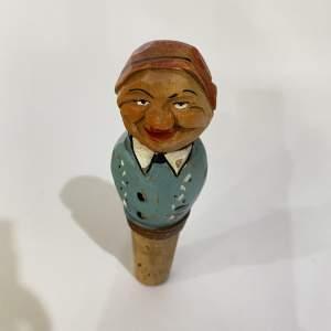 Anri Bottle Stopper - Carved Wooden Figurine - Italian Folk Art