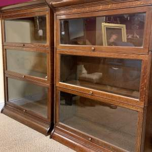 Matching Pair of Oak Sectional Stacking Bookcases