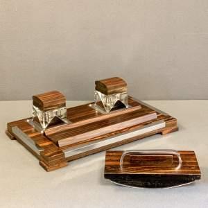 Art Deco Macassar Wood Desk Set