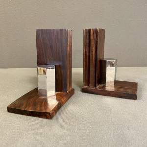 Art Deco French Macassar Wood and Chrome Bookends