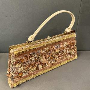 Vintage Tapestry and Beaded Bag