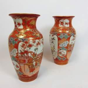 A Large Pair of Japanese Kutani Vases