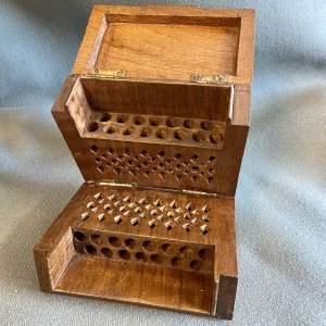 Vintage Oak 1930s Cigarette Box