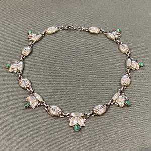 Georg Jensen Silver Necklace with Malachite Cabachons