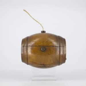 Antique Turned Olivewood Barrel Form String Box