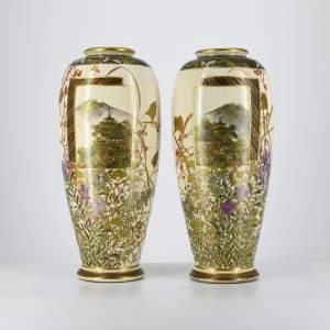 Fabulous Pair of Hand Painted Satsuma Vases