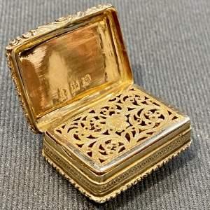George IV Silver Gilt Vinaigrette with Engraved Ferns
