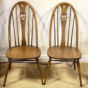 Pair of Ercol Swan Back Windsor Dining Chairs