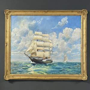 Oil on Board Painting of Sailing Ships