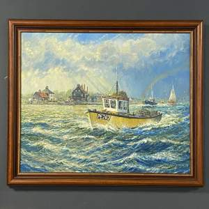 Oil on Canvas Painting of a Fishing Boat