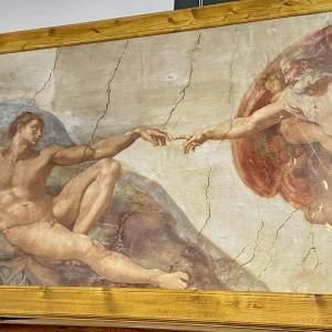 Michelangelo - La Creazione Di Adamo Quarter Size Framed Print