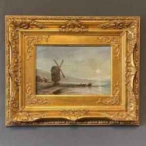 Late 19th Century English School Oil on Board Coastal Scene
