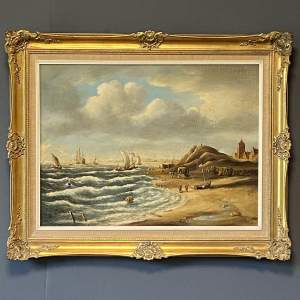 Norman Henry French Oil on Canvas of a Beach Scene
