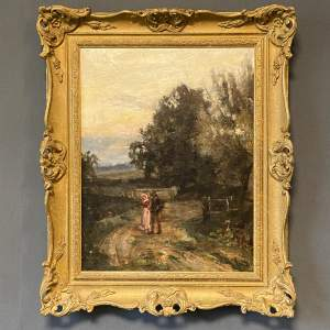 Sidney Grant Rowe Oil on Canvas of Couple Walking along a Path