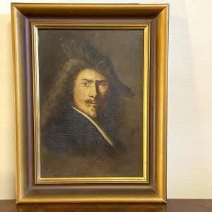 19th Century Oil on Board Portrait of Rembrandt