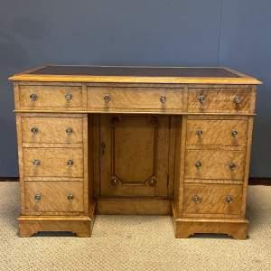 Late 19th Century Birdseye Maple Pedestal Desk