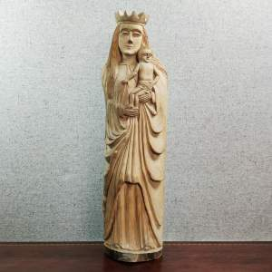 Mid Century Folk-Art Carved Wood Mary and Jesus Sculpture