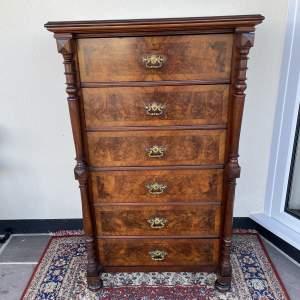Victorian Tall Burr Walnut Chest of Drawers