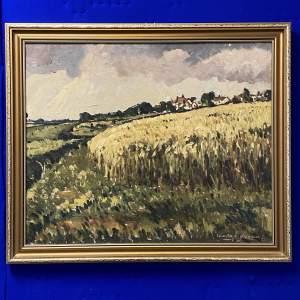 Edward Brennan Oil on Board Farm Landscape Painting
