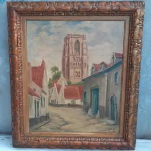 Belgian School Oil on Canvas - View of Tongeren