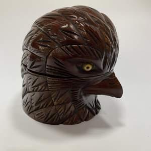 Mahogany Carved Eagles Head Inkwell