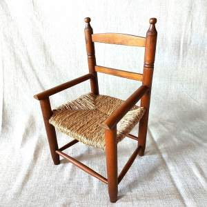 Vintage Rush Topped Childs Dolls Armchair