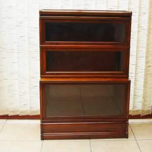 Globe Wernicke Walnut Three Section Stacking Bookcase