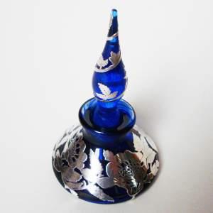Laugharne Silver Overlay Glass Perfume Bottle