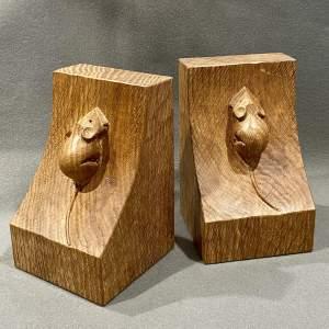 Pair of Mouseman Oak Bookends
