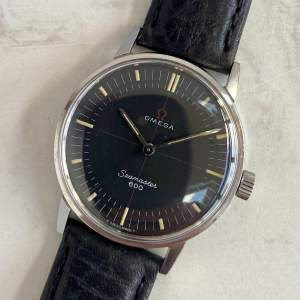 Vintage 1964 Omega Seamaster 600 Watch with Rare Black Dial