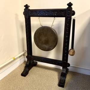 Large Carved Oak and Brass Dinner Gong