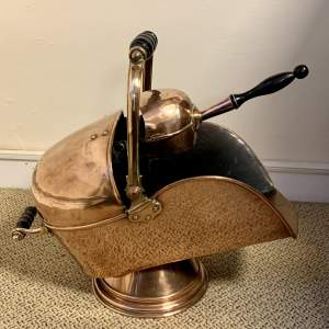 19th Century Copper Coal Scuttle and Shovel
