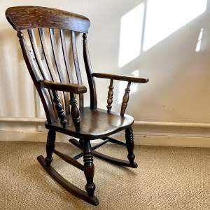 Victorian Ash and Elm Windsor Rocking Chair