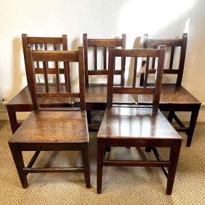 Harlequin Set of Five 18th Century Oak Chairs
