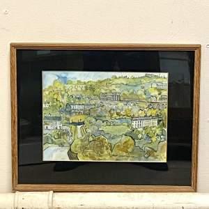 Pat Cooke Original Pen and Watercolour Town Landscape