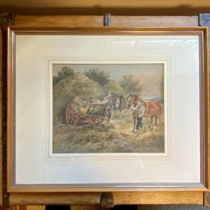 Harden Sidney Melville Watercolour of Setting up the Haycart