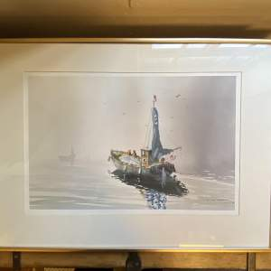 Signed Watercolour of Fishing Boats Becalmed