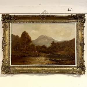 19th Century Oil on Canvas Landscape Scene with Cattle