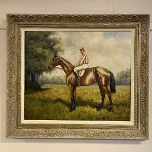Racing Jockey Oil on Canvas Painting