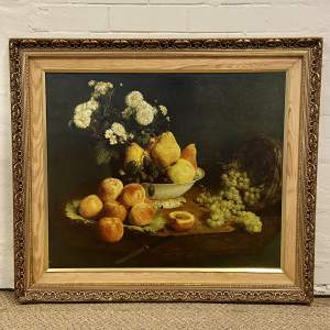 Vintage Painting of a Still Life of Flowers and Fruit