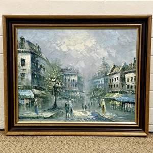 Original Oil on Canvas Painting of a European Street Scene