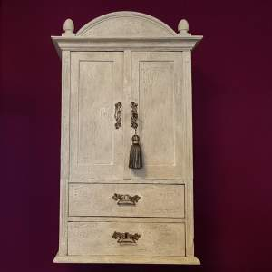 French Painted Oak Wall Hanging Cupboard - Early 20th Century